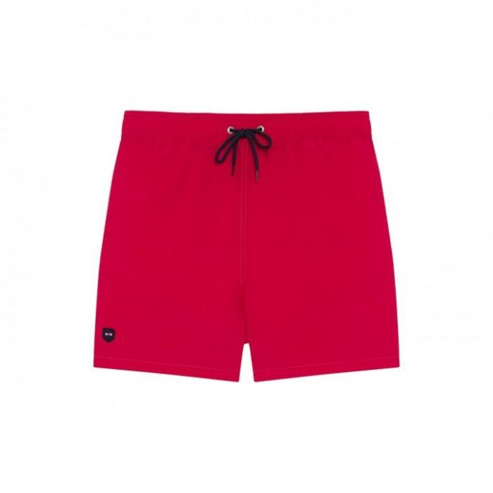 Short de bain en nylon uni avec poches