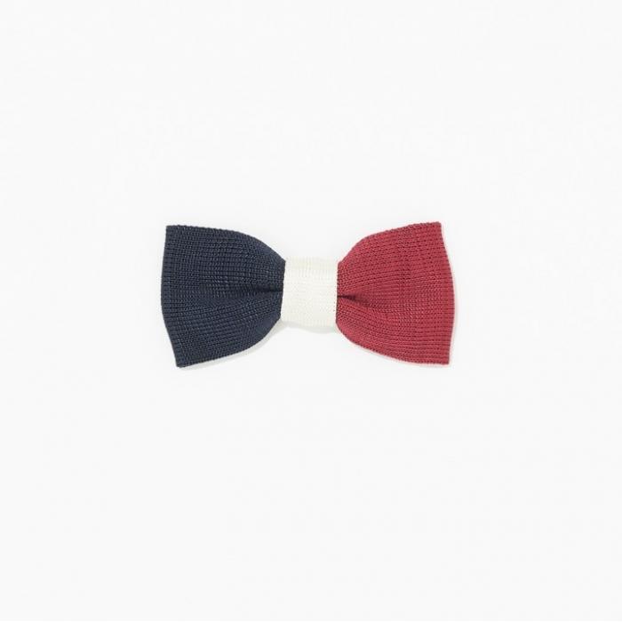 Nœud papillon Made In France en soie tricolore rouge