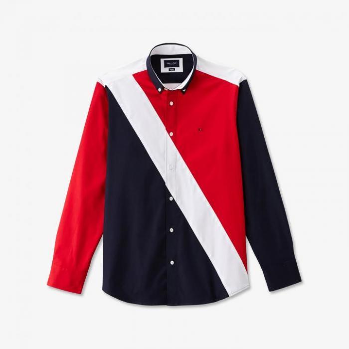 Chemise en coton color-block bleu blanc rouge