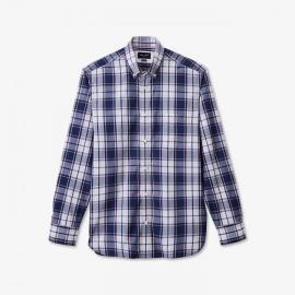 Chemise en coton à carreaux bleu marine