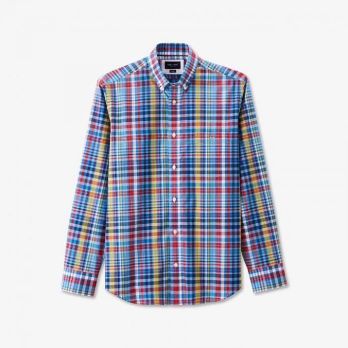 Chemise en coton à carreaux colorés