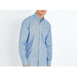 Chemise bleue en coton à micro motif nœuds