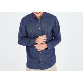 Chemise bleue à micro motif fleuri en coton