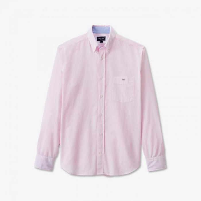 Chemise rose rayée en coton texturé