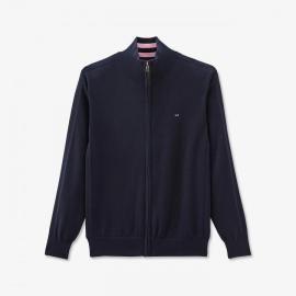 Cardigan zippé bleu marine en maille brodée