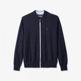 Cardigan bleu marine en maille avec zip contrasté