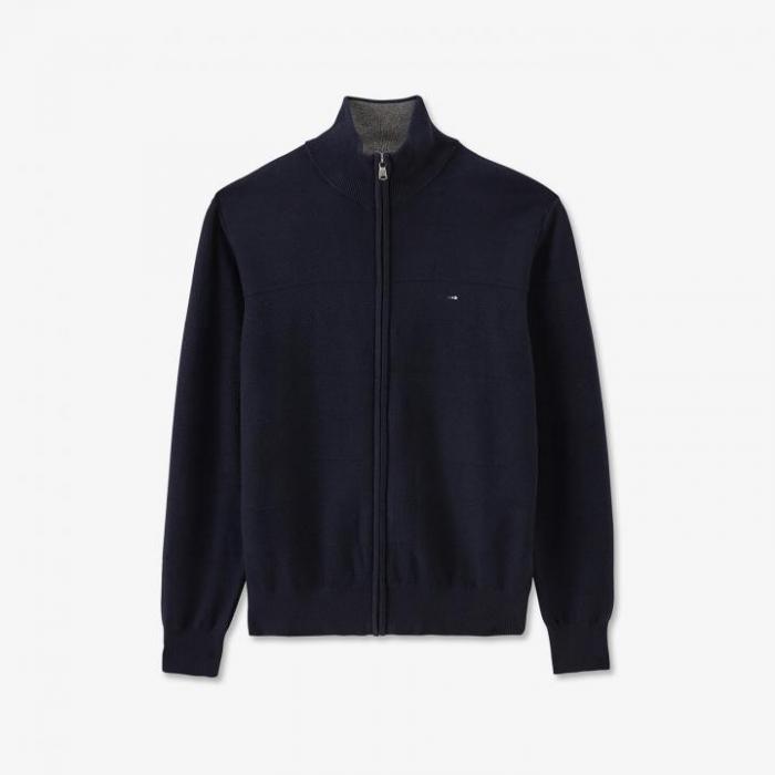 Cardigan bleu marine zippé en maille cerclée