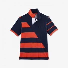 Polo à rayures orange dépareillées en coton