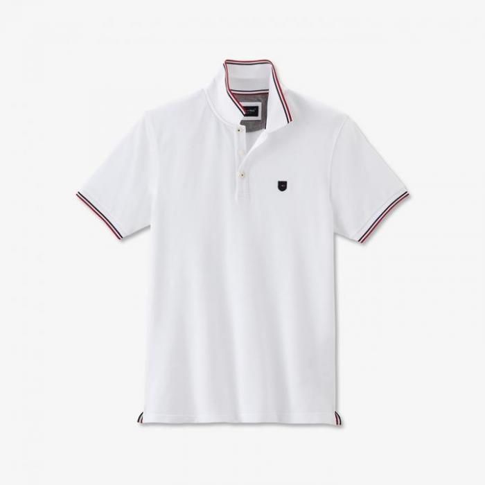 Polo blanc en coton avec détails tricolores