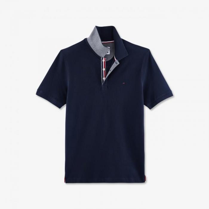 Polo bleu marine uni en piqué de coton brodé au dos