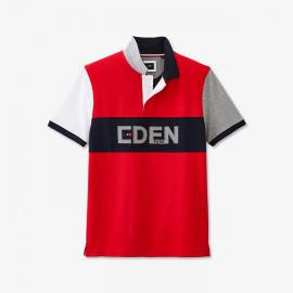 EDEN PARK - Polo rouge color-block en coton avec marquage