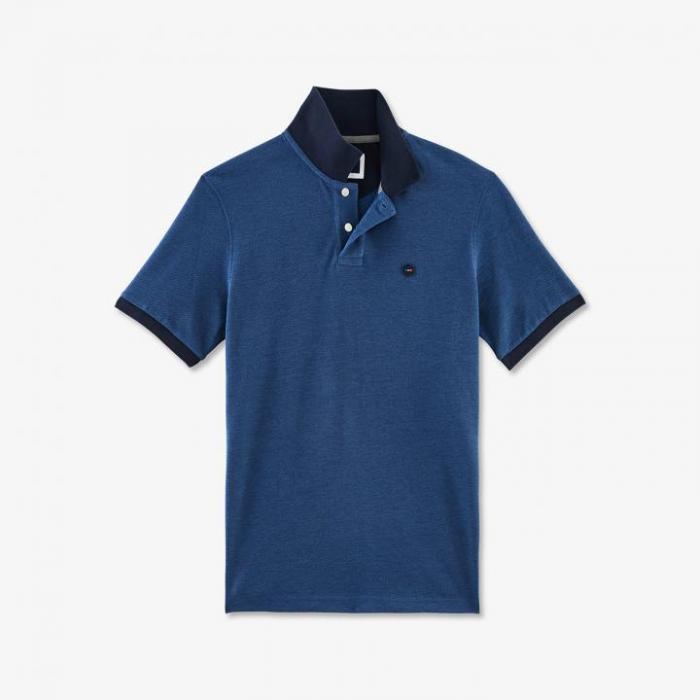 Polo Hexa bleu en piqué oxford de coton