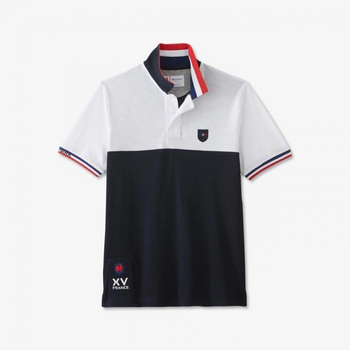 Polo FFR colorblock en coton flammé