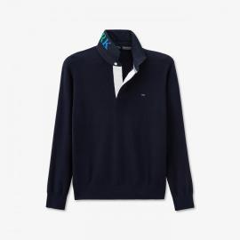 Pull Colorbow bleu marine à col maillot brodé