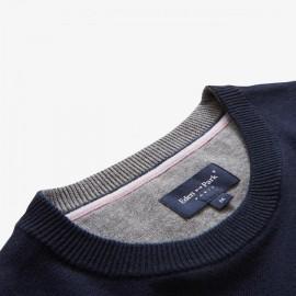 Pull en maille de coton à rayures texturées