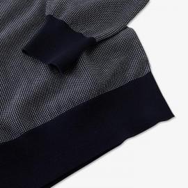 Pull Hexa bleu marine chiné en coton déperlant