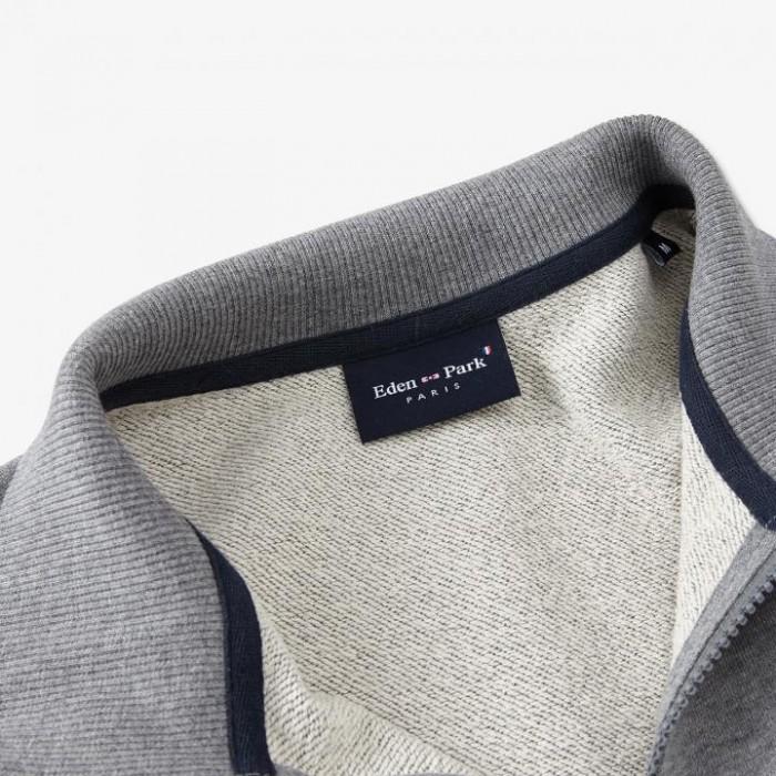 Sweatshirt zippé bleu marine en molleton de coton