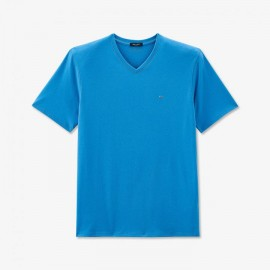 T-shirt à col V en coton pima uni