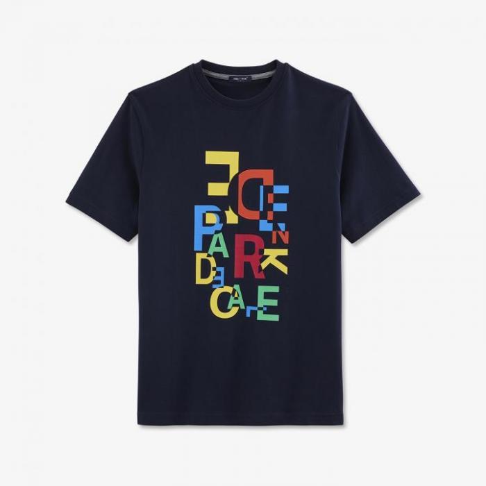 T-shirt bleu marine en coton à imprimé coloré