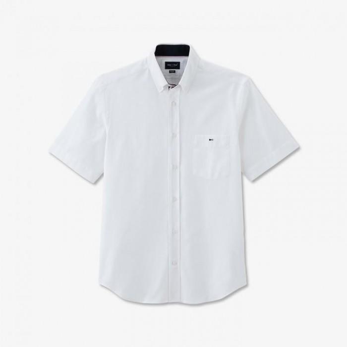 Chemisette en piqué de coton blanc avec poche