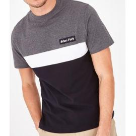 T-shirt bleu marine en coton color-block