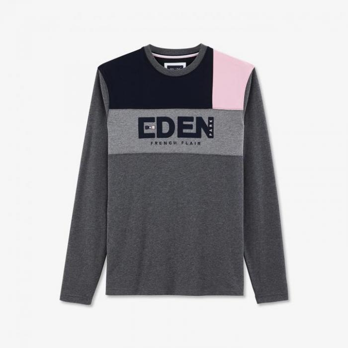 T-shirt à manches longues en coton color-block