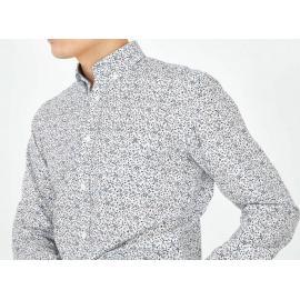 Chemise blanche en coton à micro motif fleuri