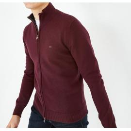 Cardigan zippé en coton uni