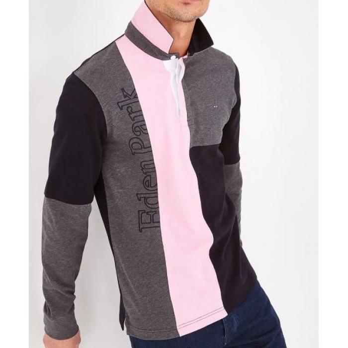 Maillot en coton color-block rose.