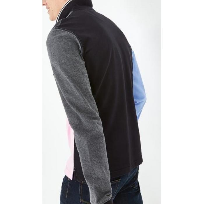 Polo à manches longues en coton color-block.