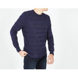 Pull bleu marine en coton à rayures texturées.