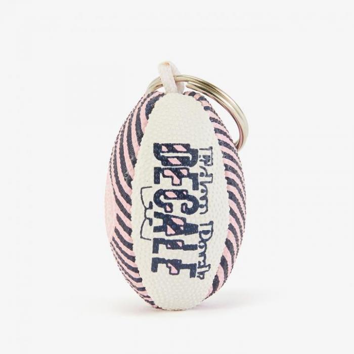 Porte-clés ballon de rugby à rayures.