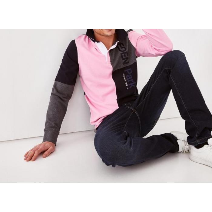 Maillot rose en coton color-block brodé.