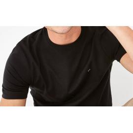 T-shirt Nœud Dos noir en coton Pima uni.