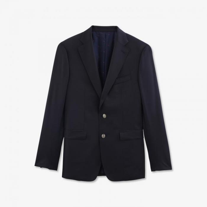 Blazer bleu marine régular fit 100 % laine.
