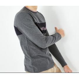 T-shirt à manches longues en coton bicolore.