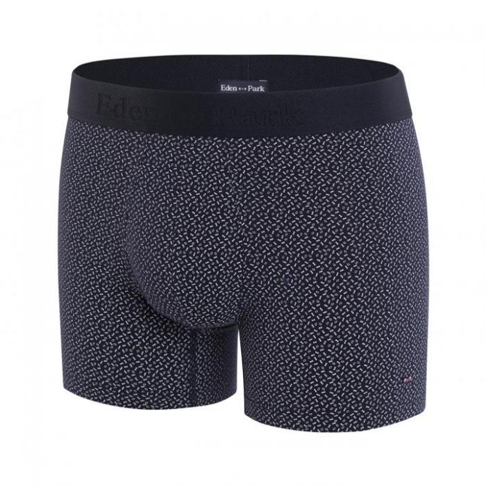 Boxer bleu marine en coton stretch à micro motif.