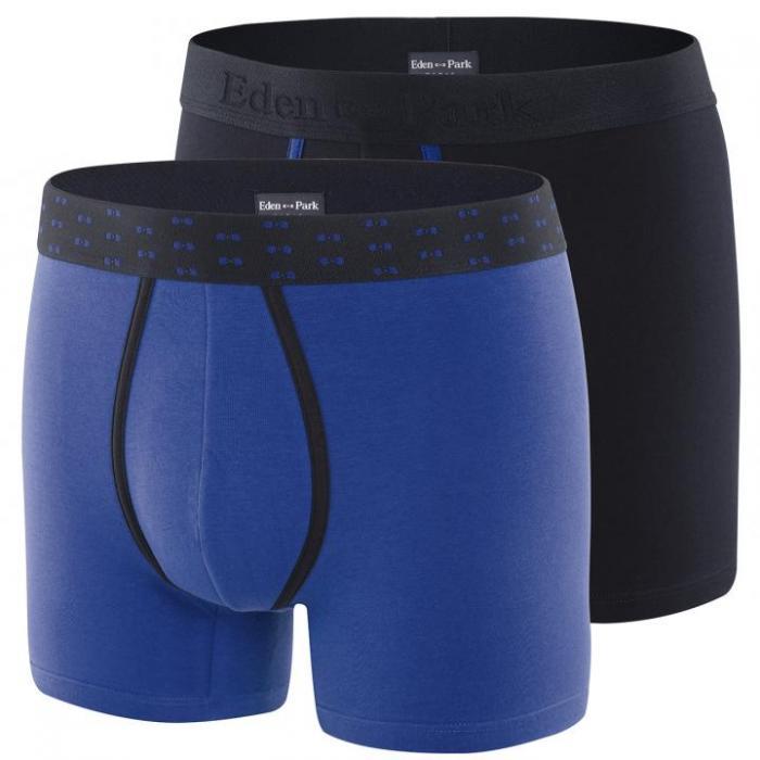 Pack de 2 boxers bleu et bleu marine en coton stretch.