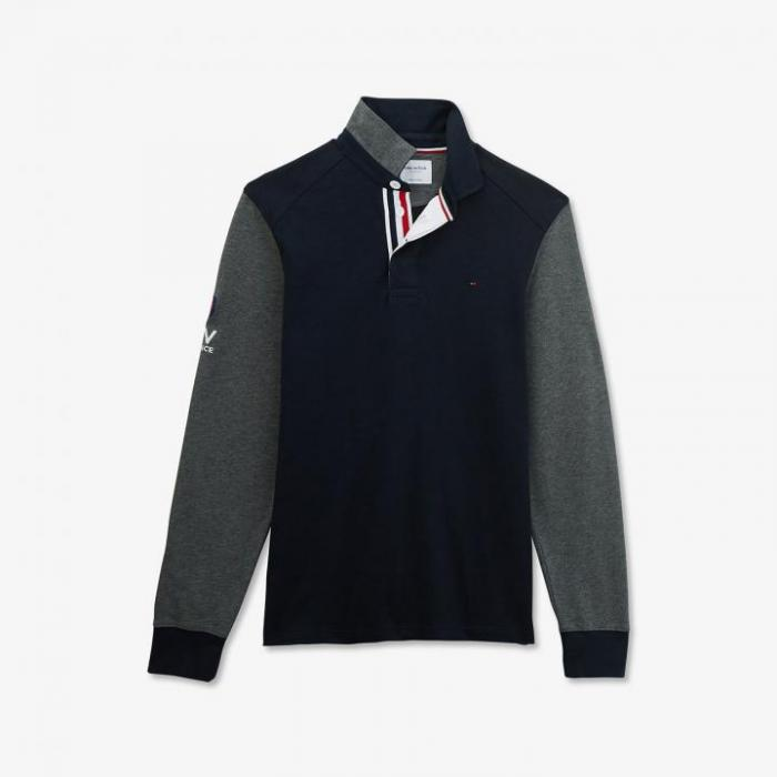 Maillot FFR slim fit bleu marine en coton bicolore.