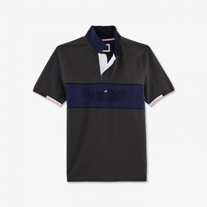 Polo Colorblock gris à manches courtes en coton.