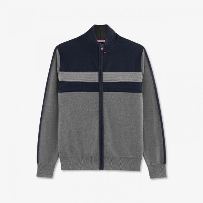 Cardigan gris zippé en coton texturé color-block.
