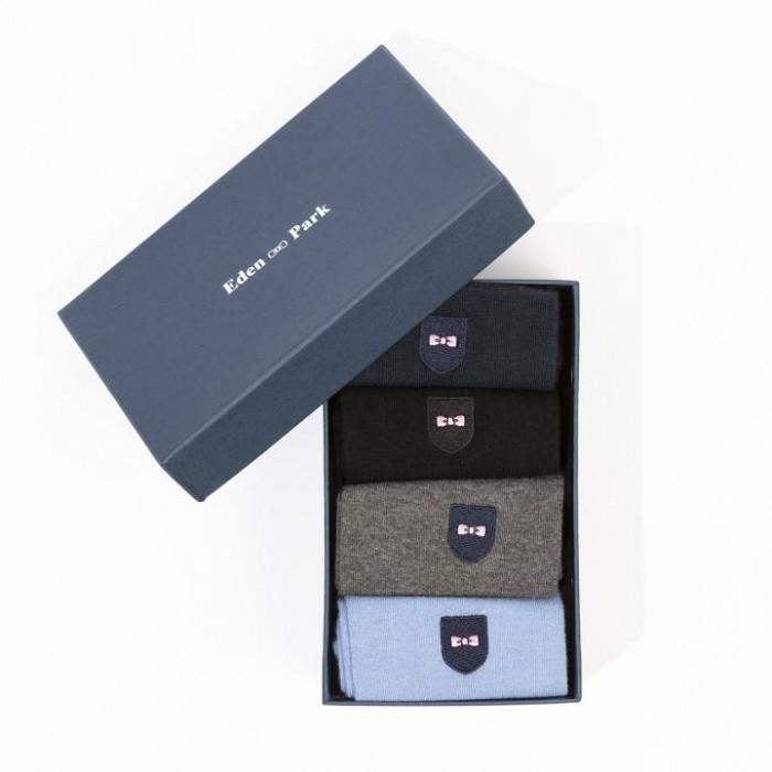 Pack de 4 paires de chaussettes unies bleues