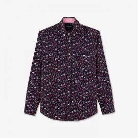 Chemise à fleurs rouge en coton.