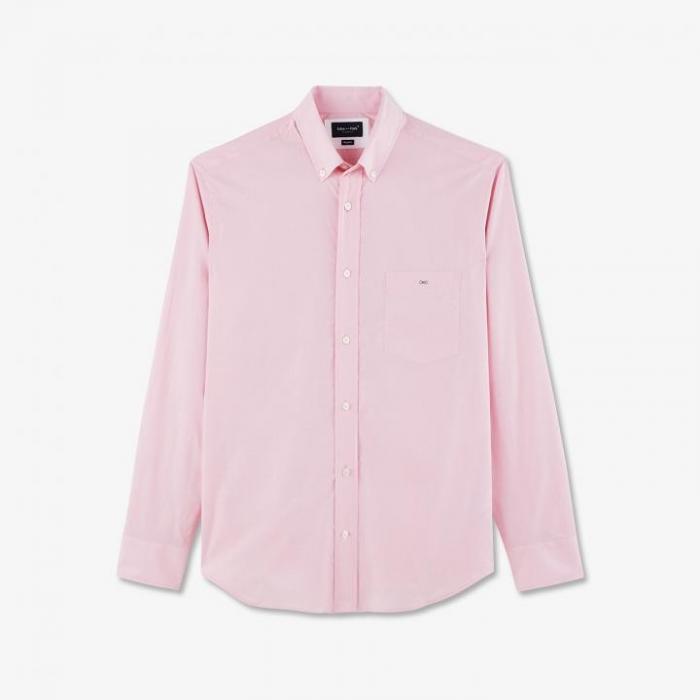 Chemise rose en coton à micro motif pois.