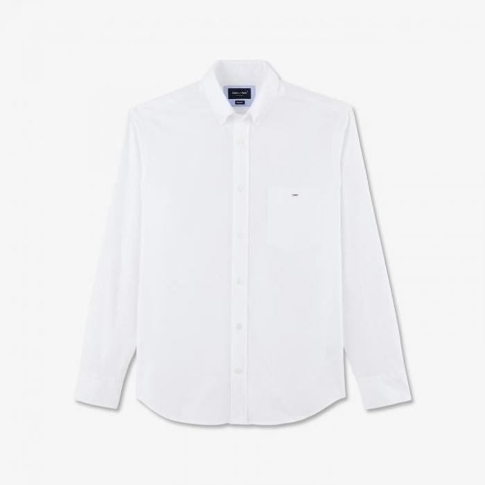 Chemise blanche en coton uni.