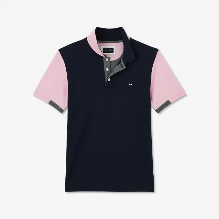 Polo à manches courtes en coton Pima color-block.