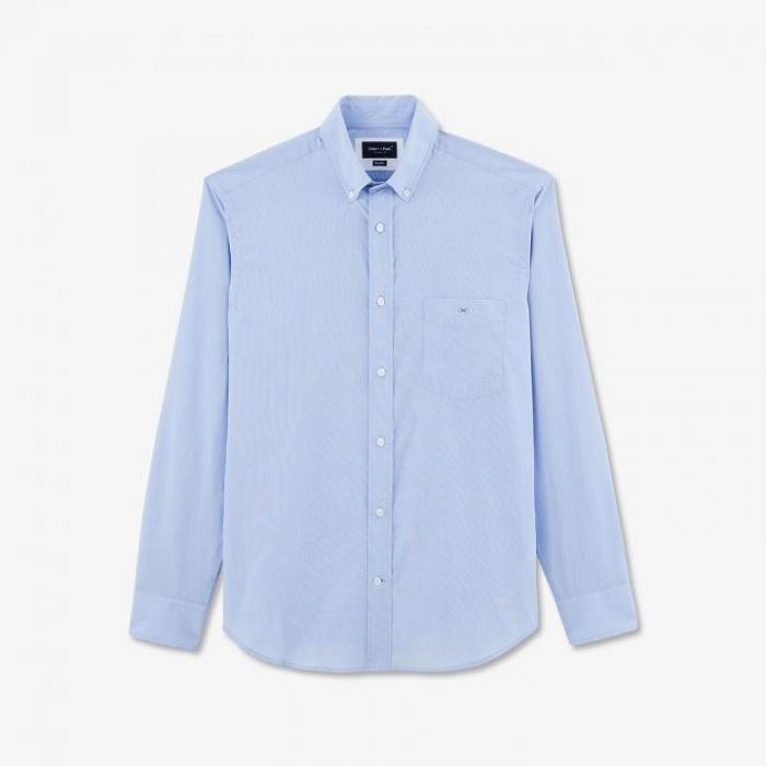 Chemise bleu ciel en coton à micro motif pois texturé.